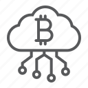 bitcoin, cloud, cryptocurrency, digital, finance, mining, money icon