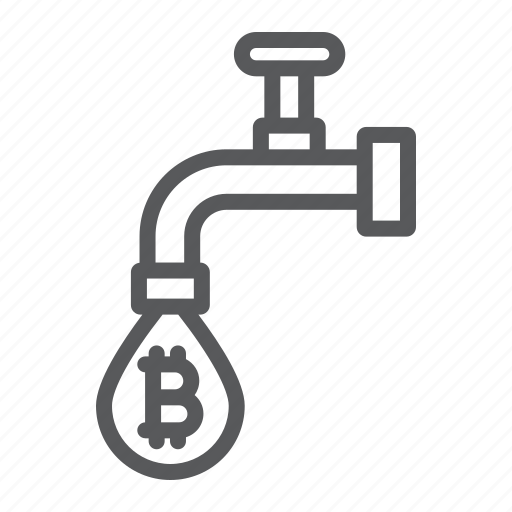 bitcoin, coin, drop, faucet, money, tap, water icon