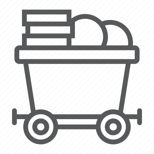 bitcoin, coins, finance, gold, mine, mining, trolley icon