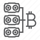 bitcoin, card, farm, hardware, mining, money, video icon