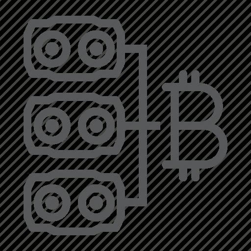 bitcoin, card, farm, hardware, mining, money, video icon