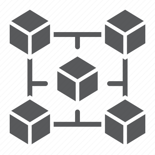 block, blockchain, chain, crypto, cube, trade icon