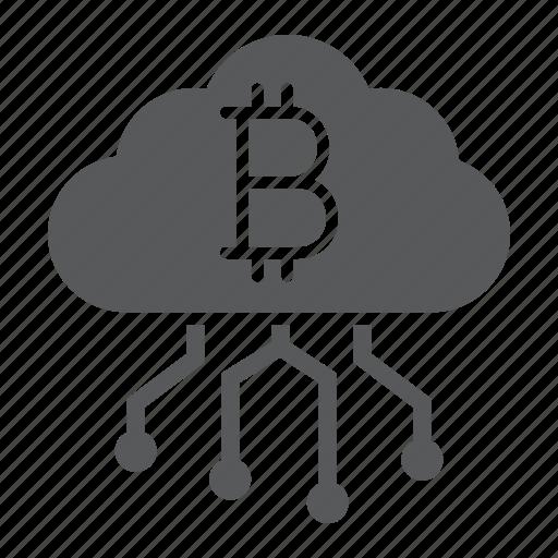 bitcoin, cloud, cryptocurrency, digital, finance, mining, money icon