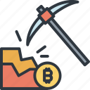 bitcoin, digging, digital, finance, golden, mine, trade icon