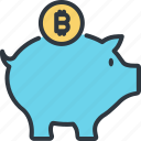bitcoin, cryptocurrency, digital, finance, piggy, saving, trade icon