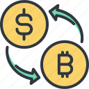 bitcoin, covert, cryptocurrency, digital, finance, money, trade icon