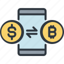 bitcoin, cryptocurrency, digital, exchance, finance, mobile baking, trade icon