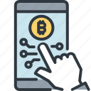 bitcoin, cryptocurrency, digital, finance, mobile banking, online, trade icon