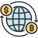 bitcoin, cryptocurrency, digital, exchange, finance, global, trade icon