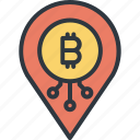 bitcoin, cryptocurrency, data, digital, finance, pin, trade icon