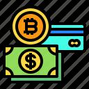 bitcoin, card, cash, money icon