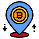 bitcoin, cryptocurrency, location, pin, pointer