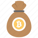 bitcoin bag, bitcoin cash, bitcoin pouch, bitcoin sack, cryptocurrency icon