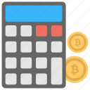 bitcoin calculation, bitcoin calculator, cryptocurrency, instant price converter, mining calculator icon