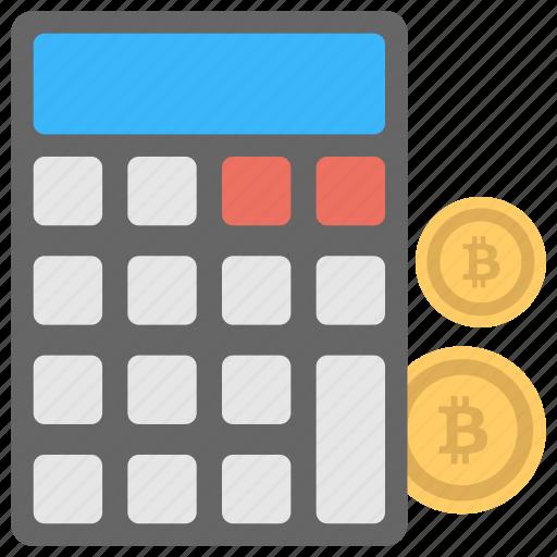 bitcoin calculation, bitcoin calculator, cryptocurrency, instant price converter, mining calculator icon