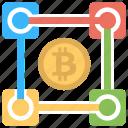 blockchain, consortium blockchain, decentralized network, private blockchain, public blockchain icon