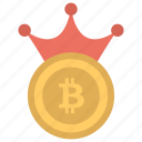 bitcoin with crown, king bitcoin, king of crypto, king of cryptocurrency, most valuable cryptocurrency icon