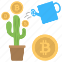 bitcoin investment, bitcoin money plant, bitcoin watering growth, business watering, currency watering growth icon