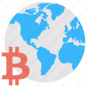 bitcoin network, bitcoin with earth globe, bitcoin world, digital currency, world of cryptocurrency icon