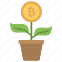 bitcoin investment, bitcoin money plant, bitcoin watering growth, cryptocurrency investment, cryptocurrency plant icon