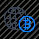 bitcoin, bitcoins, cryptocurrency, international, global, world, network icon