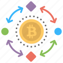 bitcoin in process, bitcoin mining in process, bitcoin transaction, bitcoin transaction work, blockchain icon