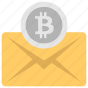 bitcoin envelope, bitcoin mail, bitcoin postage, cryptocurrency envelope, digital cash envelope icon