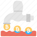 bitcoin cash faucet, bitcoin faucet, bitcoin flow, bitcoin tap, tap releasing bitcoin icon