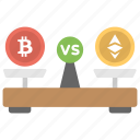 bitcoin over ethereum, bitcoin usage, bitcoin value, bitcoin vs ethereum, currency value icon