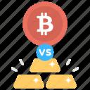 better, bitcoin, compare, comparison, concept, difference, distinction, flat, gold, icon, investment, vs icon