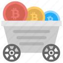bitcoin mining trolley, mining cart with bitcoins, mining trolley full of cryptocurrency, mining trolley with cryptocurrency, trolley of bitcoin icon