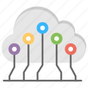 cloud computing, cloud technology, information technology service, shared computing resource, storage and software icon