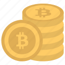 alternative currency, bitcoins, digital currency, pile of bitcoins, stack of bitcoins icon