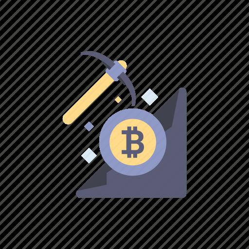 bitcoin, blockchain, coin, cryptocurrency, digital, finance, mining icon