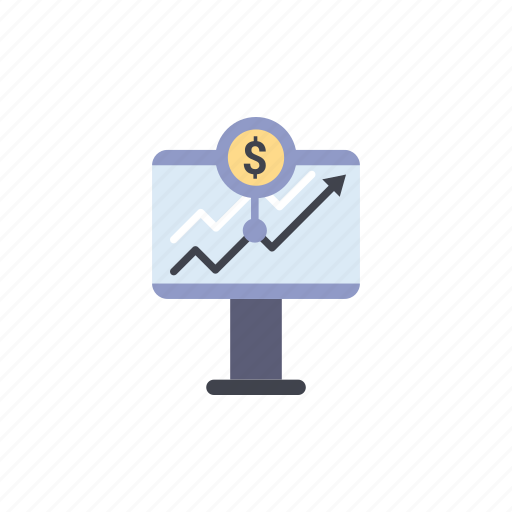 analysis, chart, dollar, growth, report, rise, stock icon