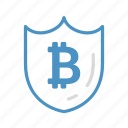 bitcoin, cryptocurrency, money, save, security, shield icon