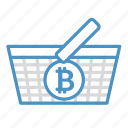 basket, bitcoin, buy, cryptocurrency, income, shopping icon