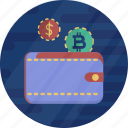 cash, cryptocurrency, dollar, finance, money, wallet, wallet bitcoin icon