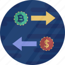 bitcoin, cryptocurrency, digital currency, dollar, in out, payment icon