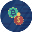 bitcoin, bitcoin vs dollar, cryptocurrency icon