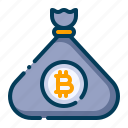 bag, bitcoin, business, cash bag, cryptocurrency, digital money, electronic cash icon