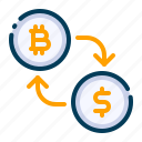 bitcoin, business, cryptocurrency, currency, digital money, electronic cash, exchange icon