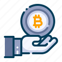 bitcoin, business, cryptocurrency, digital money, electronic cash, hand, receive icon