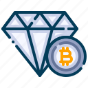 bitcoin, business, cryptocurrency, diamond, digital money, electronic cash, value