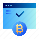 accepted, approved, bitcoin, business, cryptocurrency, digital money, electronic cash icon