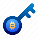access, bitcoin, business, cryptocurrency, digital money, electronic cash, key icon