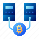 bitcoin, business, cryptocurrency, digital money, electronic cash, hosting, server icon
