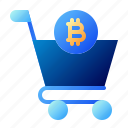bitcoin, business, cryptocurrency, digital money, electronic cash, shop, trolley