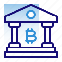 bank, bitcoin, building, business, cryptocurrency, digital money, electronic cash icon