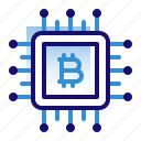 bitcoin, business, chip, cryptocurrency, digital money, electronic cash, processor icon